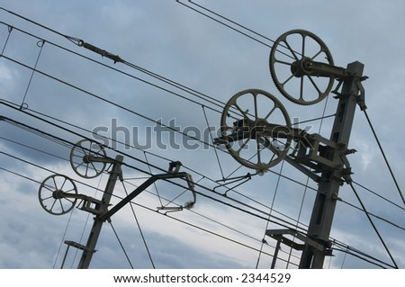 catenary with sky to the dusk - stock photo