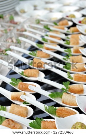 Catering, a lot of cold snacks on buffet table - stock photo