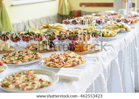 Catering and banquet wedding table setting on evening reception awaiting guests - buy this stock photo on Shutterstock & find other images.