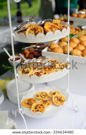 Catering buffet table with a delicious food - stock photo