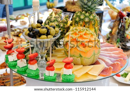 Catering food at a party - stock photo