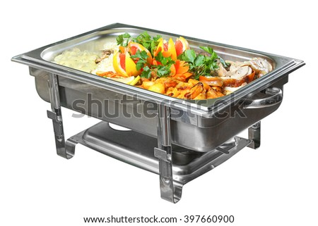 Catering food tray on white background