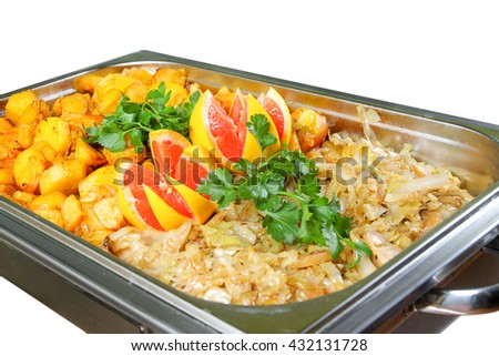 Catering food tray on white background - stock photo