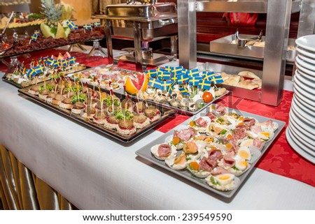 Catering food with decoration during celebration and reception - stock photo