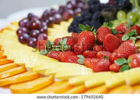 catering services background with fruits and berry in restaurant - stock photo