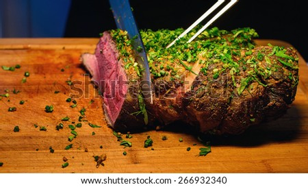 catering steak on the wedding table - stock photo