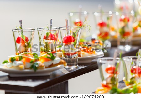 catering weddings table with glasses  - stock photo