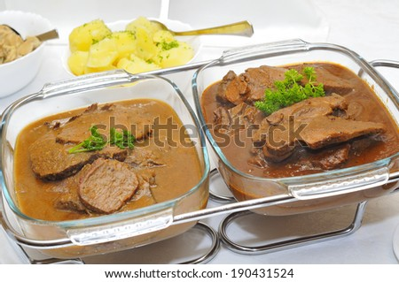 Catering with hot and cold dishes. - stock photo