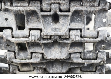 caterpillar of Russian infantry fighting vehicle, closeup shot - stock photo