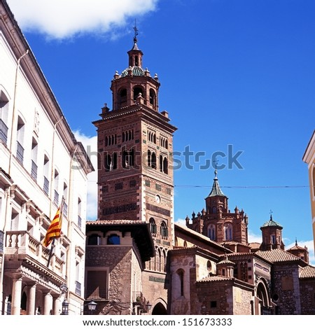 Cathedral and bell/clock tower, Teruel, Teruel Province, Aragon, Spain, Western Europe.