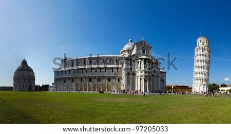 Cathedral and leaning tower of pisa panorama - stock photo