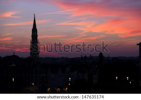 Cathedral and statue of king Albert I at sunset, Brussel, Belgium  - stock photo