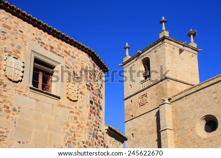 Cathedral and the historical centre of Caceres, Extremadura, Spain. UNESCO World Heritage Site.