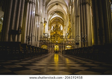 Cathedral arcs, Tourism, Toledo, most famous city in spain - stock photo