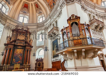 Cathedral at Salzburg Austria - religion art background - stock photo
