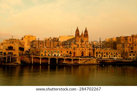 Cathedral at sunset in Maltese Islands - st julian
