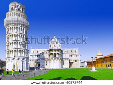 Cathedral, Baptistery and Tower of Pisa in Miracle square - stock photo