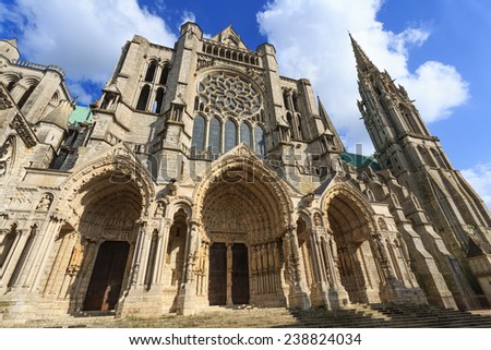 Cathedral Basilica of Our Lady of Chartres,France - stock photo
