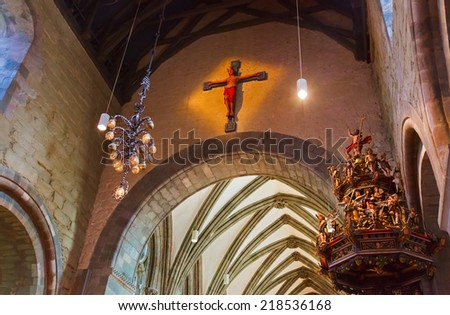 Cathedral church at Stavanger Norway - religion background - stock photo