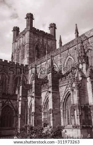 Cathedral Church, Chester; England; UK in Black and White Sepia Tone
