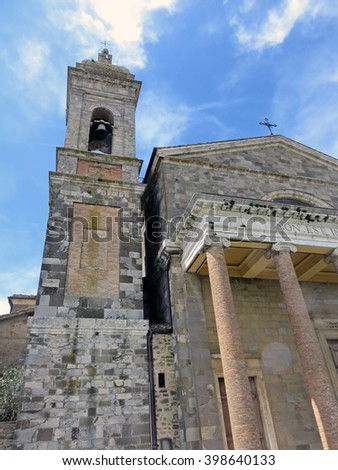 Cathedral Church (Duomo) in Montalcino, Tuscany, Italy. Originally constructed in the 14th century. It was demolished and rebuilt between 1818 to 1832 in the Neo-Classical style.