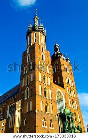 cathedral church in krakow, poland - stock photo