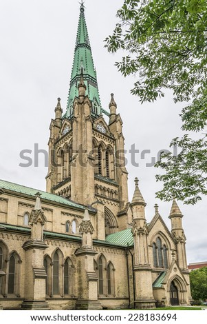 Cathedral Church of St. James in Toronto, Ontario, Canada. Cathedral is home of oldest congregation in city, parish was established in 1797. - stock photo
