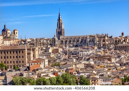 Cathedral Churchse Medieval City Toledo Spain.  Cathedral started in 1226 finished 1493 - stock photo