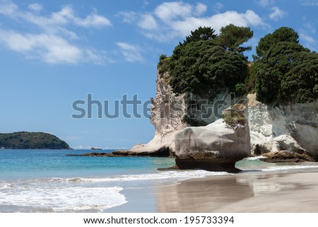 Cathedral Cove beach near Hahei in New Zealand - stock photo