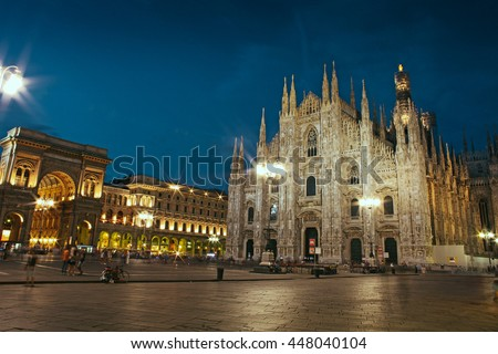 Cathedral Dome taken Milan in the evening, Italy - stock photo