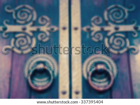 Cathedral door. Lisbon, Portugal. Blurred toned photo. - stock photo