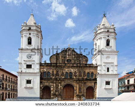 Cathedral in Casco Viejo, Panama - stock photo