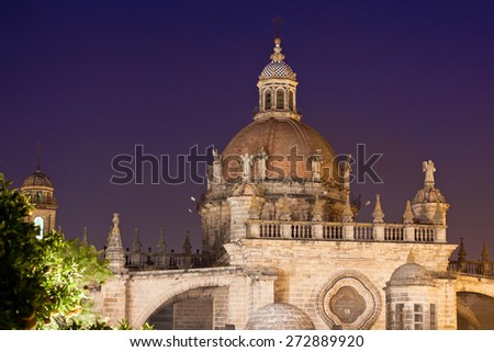 Cathedral in evening time. Jerez de la Frontera, Spain