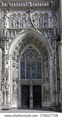 Cathedral in Lausanne, Switzerland. Main portal. - stock photo