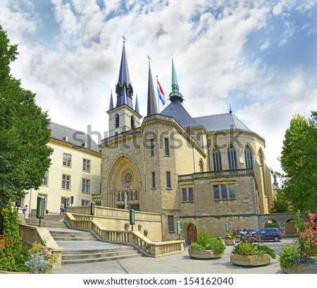 Cathedral in Luxembourg city, Grand Duchy of Luxembourg. The historic city center of Luxembourg City is UNESCO World Heritage Site - stock photo
