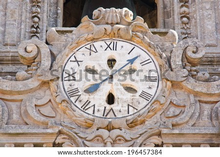 cathedral in Santiago de Compostela, Spain. View of stone clock - stock photo