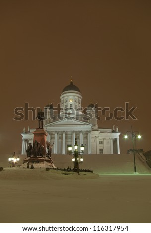 Cathedral in the winter night, Helsinki, Finland - stock photo