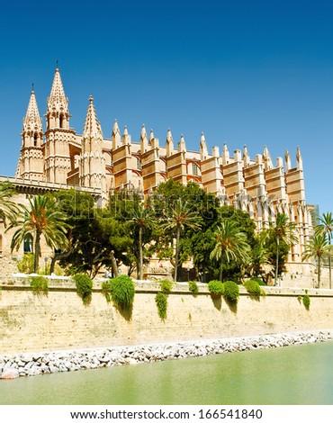 Cathedral La Seu in Palma de Mallorca, Spain - stock photo
