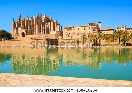 Cathedral La Seu lagoon lake palm trees, Palma de Mallorca, Spain - stock photo