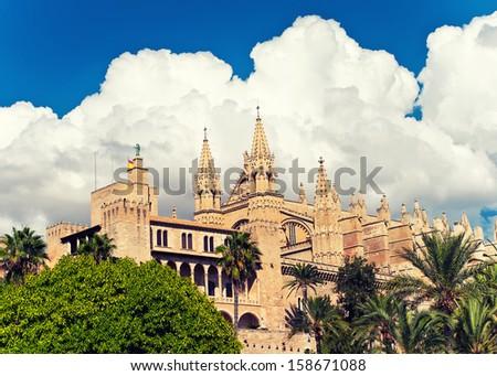 Cathedral La Seu of Palma de Mallorca, Balearic island, Spain - stock photo