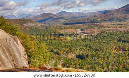 Cathedral Ledge in fall color, New Hampshire - stock photo