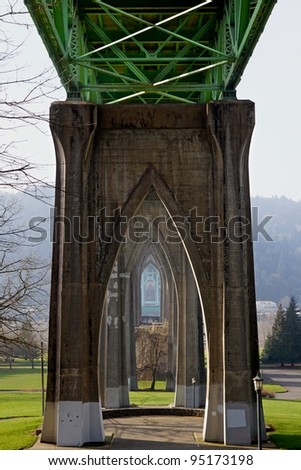 Cathedral like support structure of St. Johns Bridge in Portland Oregon - stock photo