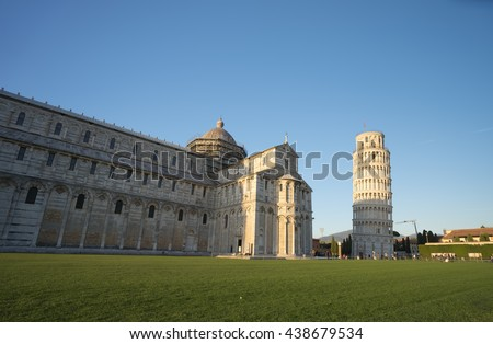 Cathedral medieval marble facade with Leaning of Pisa , Italy - stock photo
