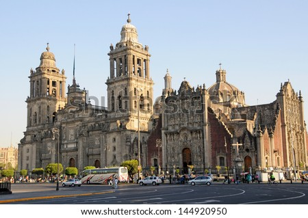 Cathedral Metropolitana and Metropolitan Tabernacle, Mexico City, Mexico. - stock photo