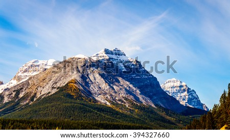 Cathedral Mountain and Mount Stephen in Yoho National Park in the Canadian Rocky Mountains - stock photo