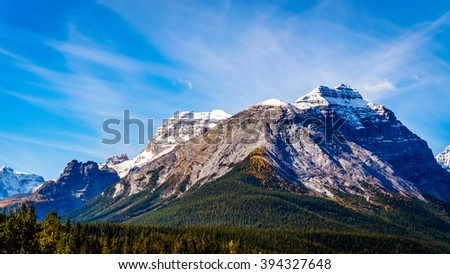 Cathedral Mountain in Yoho National Park in the Canadian Rocky Mountains - stock photo