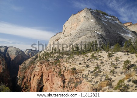 Cathedral Mountain in Zion National Park, Utah - stock photo