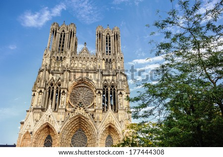 Cathedral Notre-Dame at Reims, France - stock photo