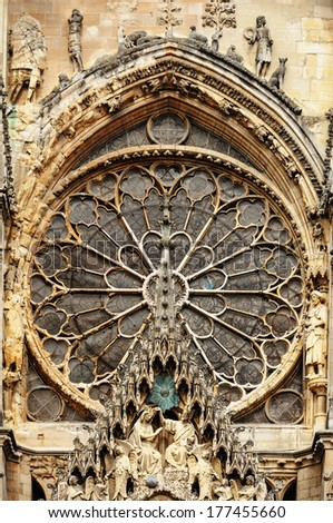 Cathedral Notre-Dame at Reims, France. - stock photo