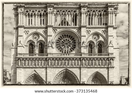 Cathedral Notre Dame de Paris - a most famous Gothic, Roman Catholic cathedral (1163 - 1345) on the eastern half of the Cite Island. France, Europe. Antique vintage.